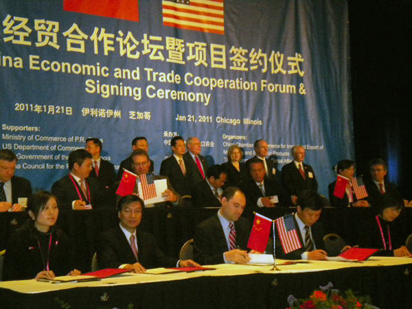 U.S. and Chinese businesses became partners at a Signing Ceremony Friday in Chicago