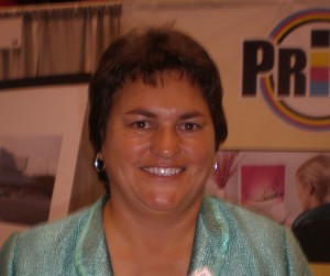 Sherrie Matthews of PrintSolutions, a woman-owned business in Crown Point, Ind.
