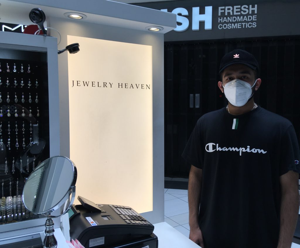 Hammad Asghar of Jewelry Heaven was open for business with a mask on.